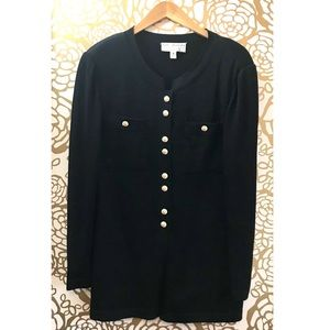 St John Couture Black Gold Button Vintage Cardigan